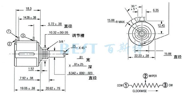 精密多圈线绕电位器3540规格书