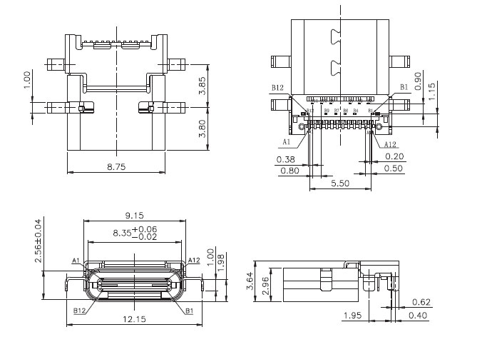 4,type c母座usb-c-4结构图纸