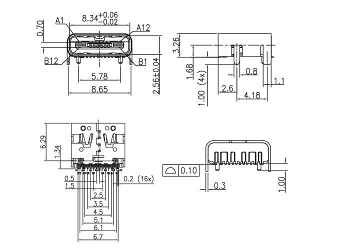 usb type c母座USB-C-4规格书