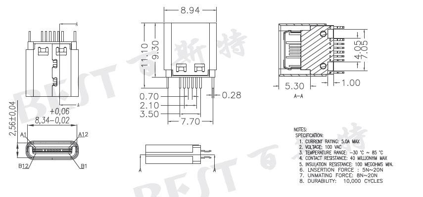 usb type c母座USB-C-5规格书